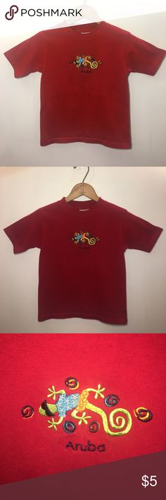 YACHT CLUB Red Aruba Lizard Short Sleeved T-shirt Youth, small (could fit XS too). New without tags, but washed. Low priced items are best bundled! Yacht Club Shirts & Tops Tees - Short Sleeve