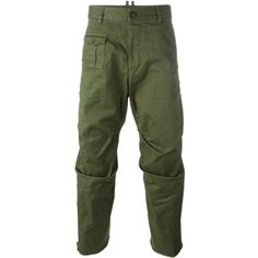 Dsquared2 'Tizzy' trousers ($354) ❤ liked on Polyvore featuring men's fashion, men's clothing, men's pants, men's casual pants, green, mens cropped pants, mens green pants, mens drop crotch pants and mens elastic waistband pants