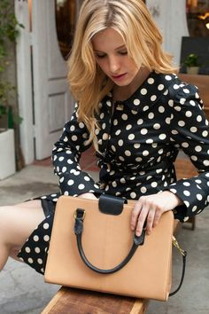 Lovely polka dots and purse.