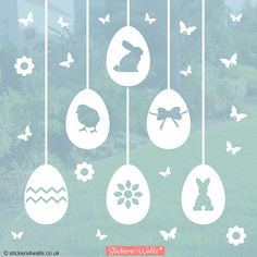 """Easter window decorations. This set includes 6 'hanging' Easter egg window stickers, each with a different design (flower, chevrons, bow, chick and two types of Easter bunny). The set also includes flowers and butterflies, together with the 'strings' to hang the eggs. #easter #easterdecoration #ideasforeaster #easterideasforkids"""""""