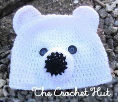 Crochet Baby Hat Patterns, Crochet Baby Hats, Crochet Hooks, Free Crochet, Crochet For Boys, Double Crochet, Penguin Hat, Bear Ears, Polar Bear
