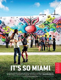 Wynwood Walls: Yesterday's industrial area is today's cultural center. Sure, you might find that in other cities. Difference is, in Miami's Wynwood Art District you can enjoy your Kenny Scharf al fresco. It's So Miami. Miami Street Art, Kenny Scharf, Miami Life, Downtown Miami, Murals Street Art, Magic City, Support Local, Cultural Center, Travel And Tourism