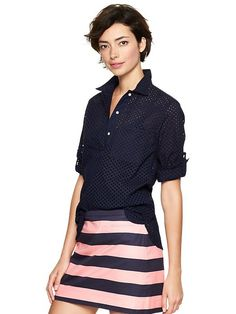 Eyelet roll-sleeve henley top Product Image