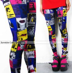 Women's Leggings Tight Pants Colorful Cartoon by midnightstyle, $16.00