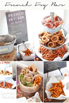 A French Fry Bar - A party food station that boasts LOADED White Truffle Rosemary Fries with Ranch Aioli and a Crispy Onion Ring topped Southern BBQ & Slaw Sandwich with Spicy Sweet Potato Fries.#SpringIntoFlavor #CollectiveBias #ad @Alexia @Walmart