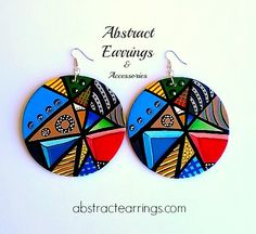Abstract Hand Painted Earrings & Fashion Accessories by AbstractEarrings Quilling Earrings, Paper Earrings, Wooden Earrings, Paper Jewelry, Fabric Jewelry, Wooden Jewelry, Diy Earrings, Fashion Earrings, Beaded Jewelry