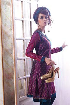 long earrings, turban band, flare sleeved dress
