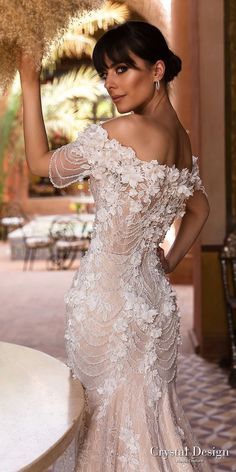 crystal design 2018 off the shoulder straight across neck full embellishment romantic fit and flare wedding dress chapel train (grace) zbv #weddingdress