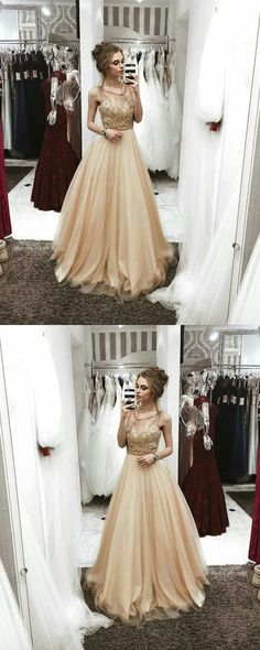 Champagne Prom Dress, Sexy Round Neck Prom Dress, Tulle Long Prom Gown 51915