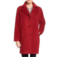 Women's Kristen Blake Wool & Alpaca Blend Notch Collar Coat ($258) ❤ liked on Polyvore featuring outerwear, coats, brick, kristen blake coats, pleated coat, kristen blake, single-breasted trench coats and red coat