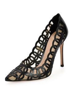 105mm Laser-Cut Vitello Leather Pump, Black