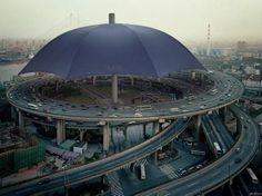 "@Jenna Bingham World's Biggest Umbrella, China.... This is kinda random like the ""rubber duck"" ;) Instead of the Great Wall, it's an umbrella :-D"