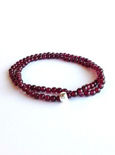 Garnet bracelet, dark red stone beaded jewelry, January birthstone bracelet