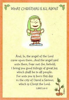 The reason for the season:-). The best part of this Charlie Brown special, even for generations to come....