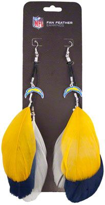 San Diego Chargers Fan Feather Earrings