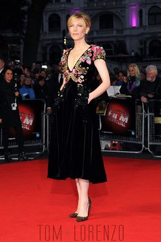 """Cate Blanchett attends the """"Truth"""" Fellowship Special Presentation Gala during the BFI London Film Festival at Odeon Leicester Square in London, England in Schiaparelli couture."""
