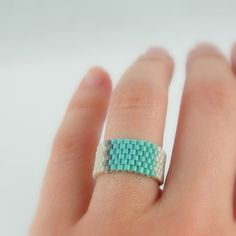 Beadwoven ring mint blue and beige seed beads Size 9