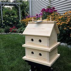 Excited to share this item from my shop: 8 Plex Unfinished Large Birdhouse Condo Natural Solid Wood Large Bird Houses, Wooden Bird Houses, Bird Houses Diy, Bird House Plans, Bird House Kits, Homemade Bird Houses, Birdhouse Designs, Birdhouse Ideas, Bird Aviary