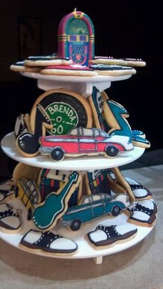 50's themed birthday cookies - records, 57 chevy, saddle shoes, guitars, music notes, juke box