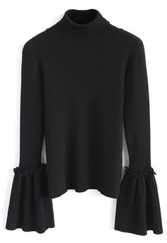 Keep Knit Up Turtleneck Top in Black - New Arrivals - Retro, Indie and Unique Fashion
