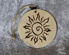 Spiral Sun round ornament by breathofthedragon, $6.95 USD