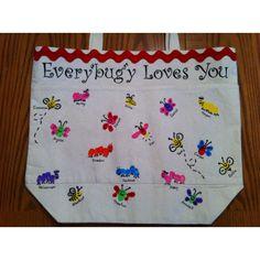 Finger print bugs on a canvas bag Easy Homemade Gifts, Diy Gifts, Bug Crafts, Crafts For Kids, Teacher Appreciation Gifts, Teacher Gifts, Thumb Prints, Hand Prints, Fingerprint Art