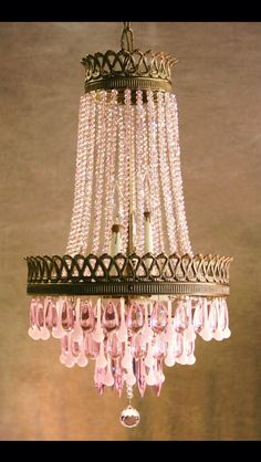 VINTAGE FRENCH CAGE CRYSTAL LUSTRE CHANDELIER w/ French Pink Opaline Crystals