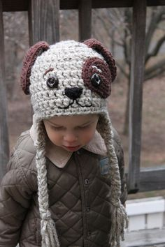 Doggy Earflap Crochet Hat for Boys and Girls  by LenasBoutique, $32.00