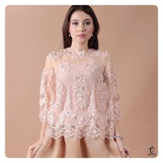 simple long sleeve lace top, kebaya modern indonesia brokat http://www.eiwaonline.com
