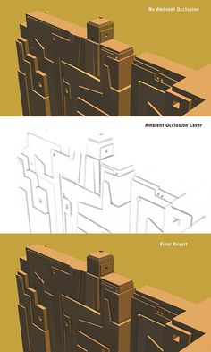 The ambient occlusion map (middle image) for this scene darkens only the innermost angles of corners.  Show how 3D real time ambient occlusion works 2013-11-23 10-45 - Ambient occlusion - Wikipedia, the free encyclopedia