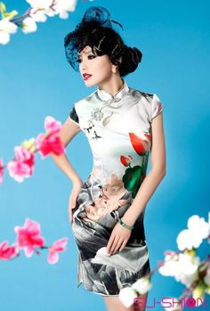 Lutos silk cheongsam dress_Traditional qipao_Oriental styles_Custom-made Cheongsam,Qipao,Chinese clothes,chinese clothing,Chinese Dress,Wedding dress,Tailor-made