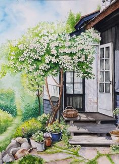 Namgung Inok's work by watercolor hobby class-Daejeon adult hobby art studio Fantasy Landscape, Landscape Art, Landscape Paintings, Aesthetic Anime, Aesthetic Art, Watercolor Landscape, Watercolor Paintings, Anime Scenery Wallpaper, Art Aquarelle