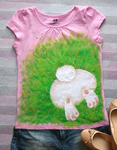 9220c112d Hand-painted Bunny Butt T-shirt, Girls Customizable Easter Rabbit Tshirt,  Spring Egg Hunt Tee, Birthday Gifts, One-of-a-kind Kid's Clothing