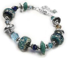 Sterling silver and lampwork bracelet - Fiji
