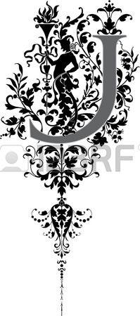Estilo fantasía, alfabeto Inglés, letra J, en escala de grises Foto de archivo - 23262821
