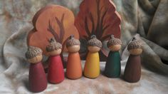 AUTUMN Peg Dolls // In Stock RTS // PegCorn Peg People // Nature Table // Acorn Capped Peg Dolls // Waldorf Toy //Fall Nature Table