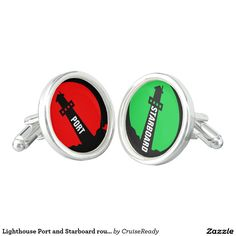 Lighthouse Port and Starboard round Cufflinks