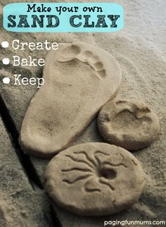 Clay Recipe - Create, Bake & Keep! Make your own Sand Clay - Create, Bake & Keep! Cornflour is cornmeal Bicarbonate soda is baking sodaMake your own Sand Clay - Create, Bake & Keep! Cornflour is cornmeal Bicarbonate soda is baking soda Vbs Crafts, Clay Crafts, Arts And Crafts, Rock Crafts, Vinyl Crafts, Little Presents, Clay Food, Shell Crafts, Summer Crafts
