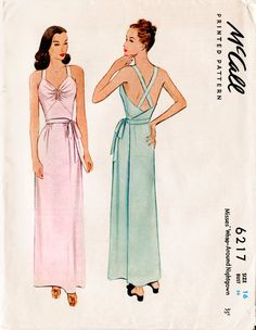 05227f7bb6 1940s 40s vintage dress pattern lingerie slip sewing pattern negligee gown  low… Lingerie Patterns