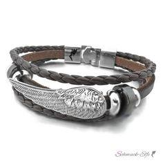 Armband Edelstahl Engelsflügel ECHT Leder dunkel braun im Organ