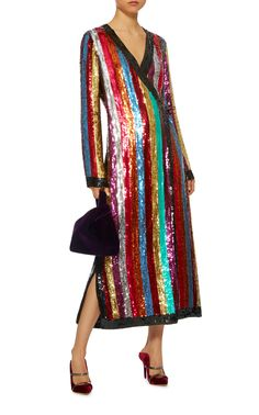 Attico's 'Grace' rainbow-hued dress is embellished with scores of light-catching sequins. This striped style has an ultra flattering wrap silhouette, plunging neckline and side slits. Wear yours post-six with sandals and a clutch.