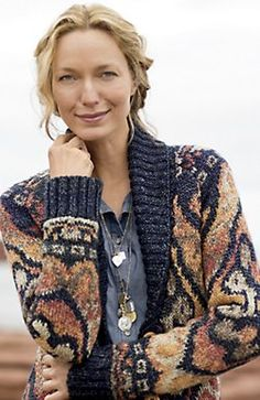 J. Jill Bloomsbury topper in deep blue jacquard |  Our shawl-collar topper in a jacquard-knit kilim-inspired pattern. Wooden buttons. Long sleeves. Side vents. Hemline is slightly longer in back. Low-hip length
