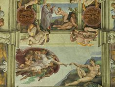 A piece of the ceiling of the Sistine Chapel in the Vatican.