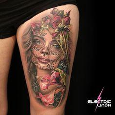 Custom Digital Design of Dead flowers Sugarskull Babe - Done at Oslo Norway. Booking: www. Mens Body Tattoos, New Tattoos, Tribal Tattoos, Tattoos For Guys, Tattoos For Women, Piercing Tattoo, I Tattoo, Piercings, Catrina Tattoo