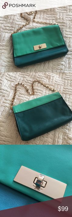 Kate Spade Green Colorblock Crossbody Bag Hardware shows some wear but the leather is overall excellent! Adorable stripe lining! Small shoulder strap. Two wall pockets and zip pocket inside. Offers welcome through offer tab. No trades. 10225171181 kate spade Bags Shoulder Bags