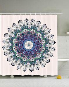 Peacock Feather Mandala Boho Fabric Shower Curtain