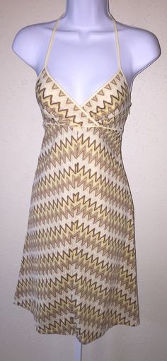 Ann Taylor Loft Cream Tan Chevron Knit Halter Sun Dress Sz 00P Boho Bead Straps | eBay