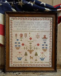 """PINEBERRY LANE """"Elizabeth Baker 1844"""" 
