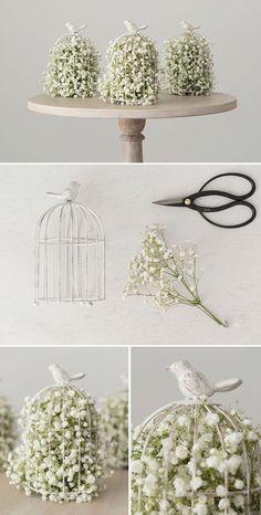 Baby'S Breath In A Birdcage Flower Arrangement