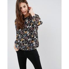 Brave Soul Floral Blouse ($27) ❤ liked on Polyvore featuring tops, blouses, multi, round neck top, long sleeve blouse, floral print blouse, long sleeve tops and woven top